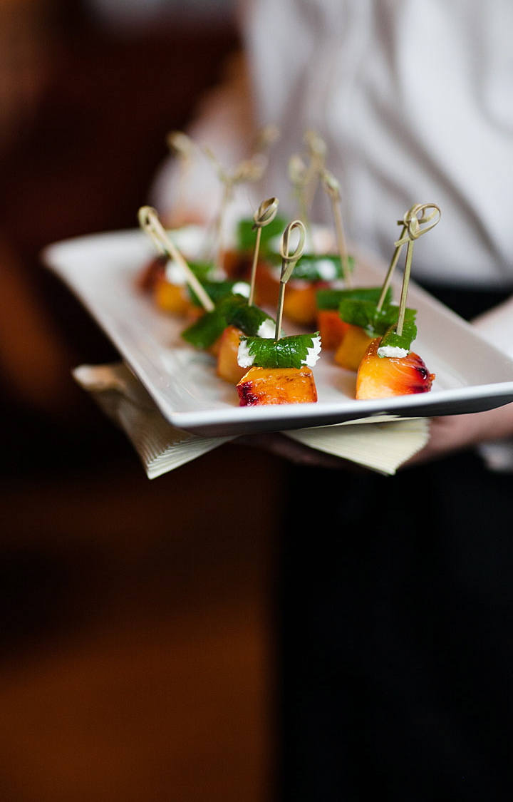Grilled Peaches with Shiso Wrapped Chevre