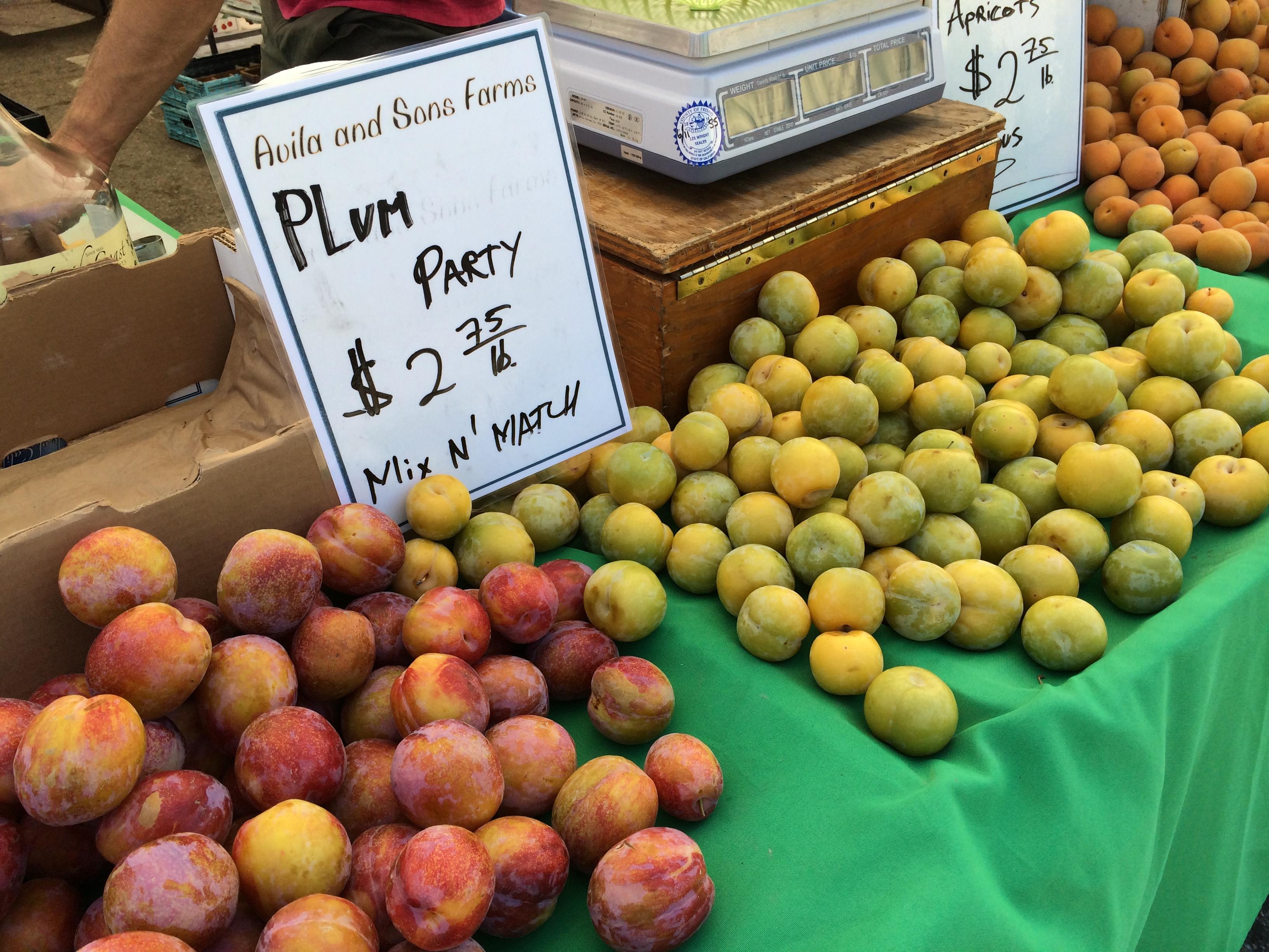 Plum party at Santa Monica farmer's market