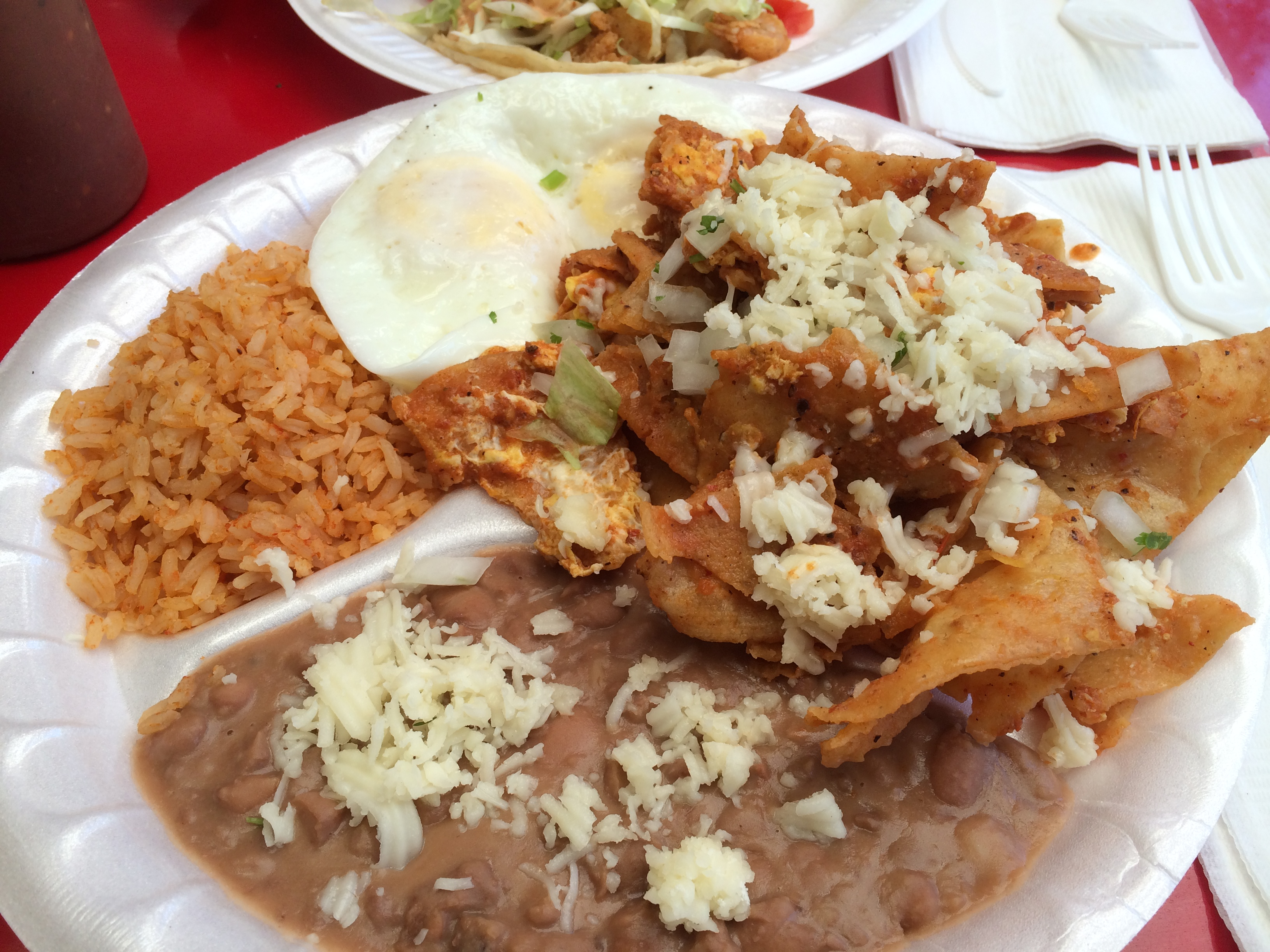 Chilaquiles with eggs from Tacos Delta on W. Sunset Blvd.