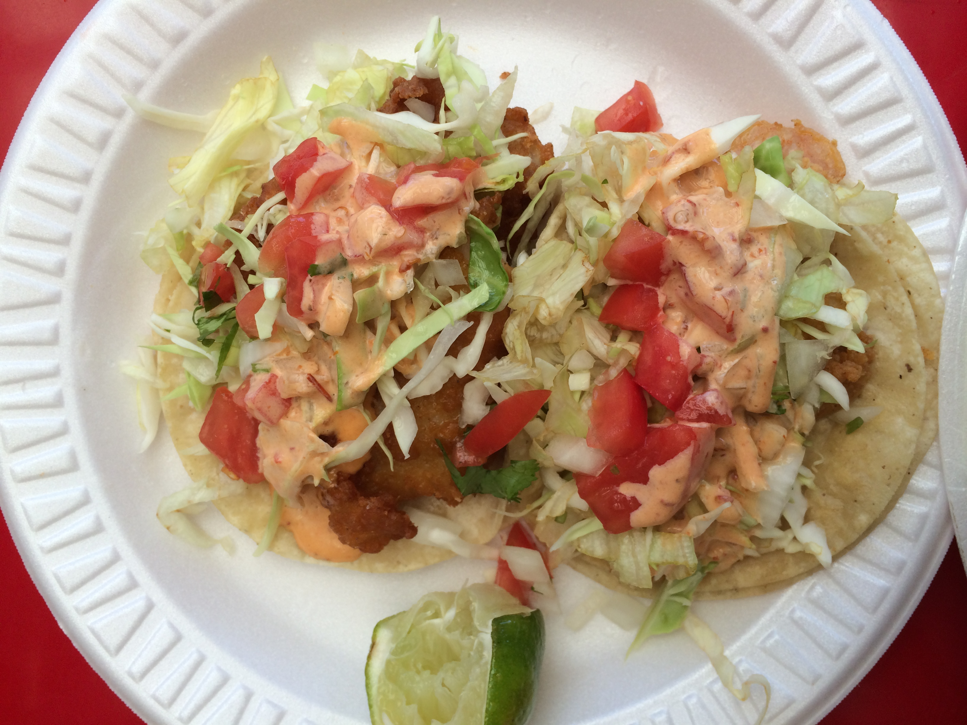 the fish tacos from Tacos Delta on W. Sunset Blvd.