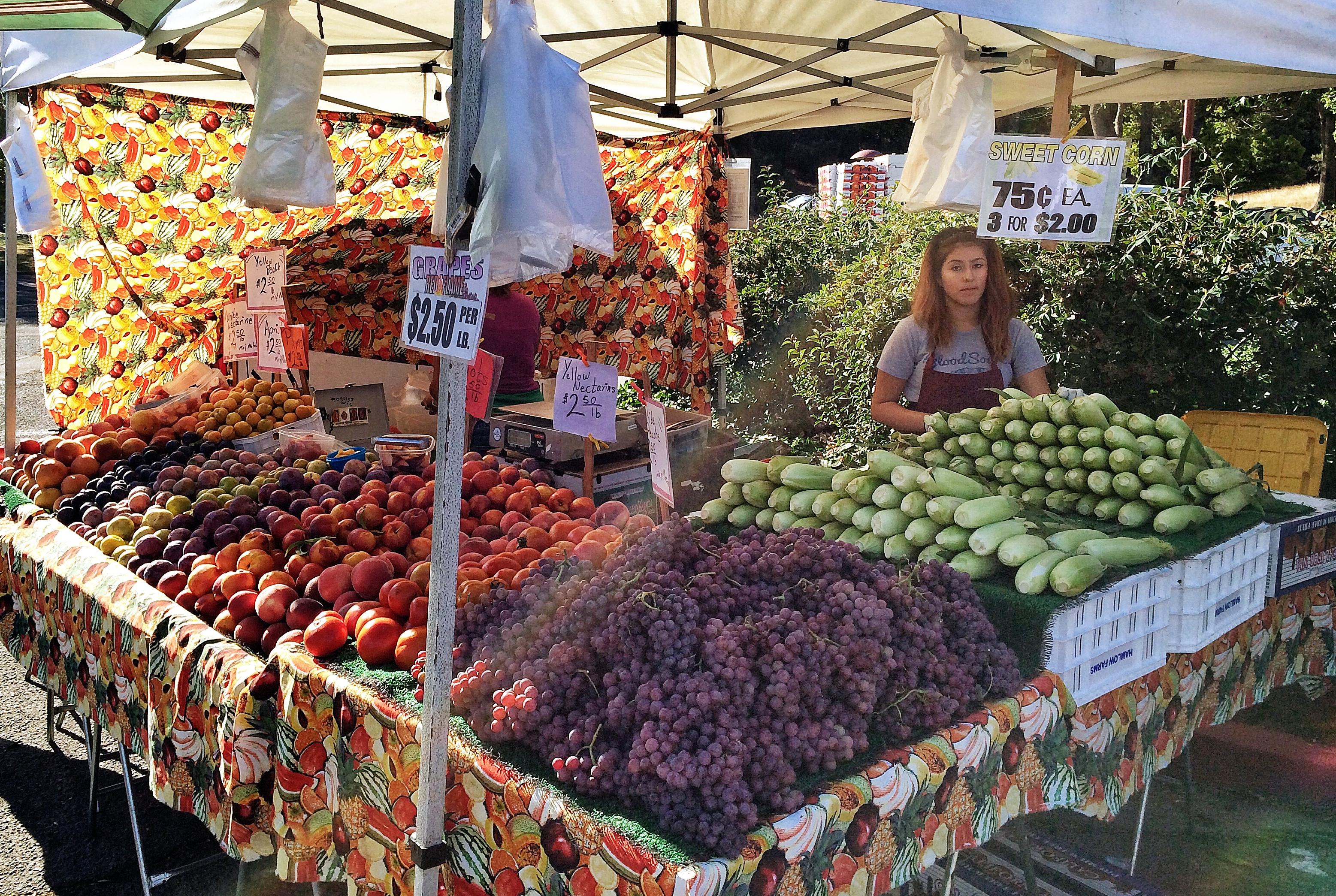 stone fruit, grapes & sweet corn