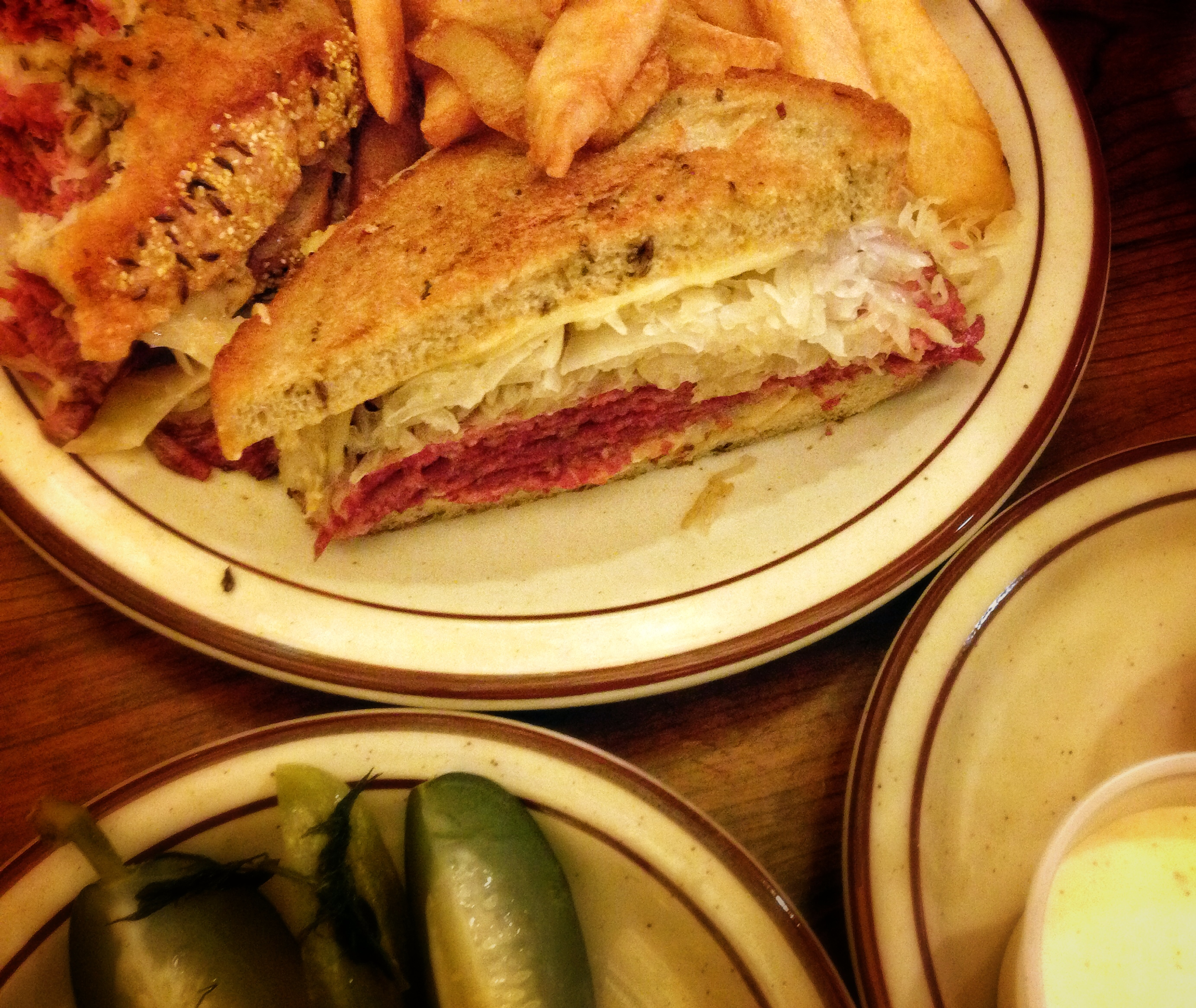 Reuben and fries with pickles, Canter's Deli, Fairfax
