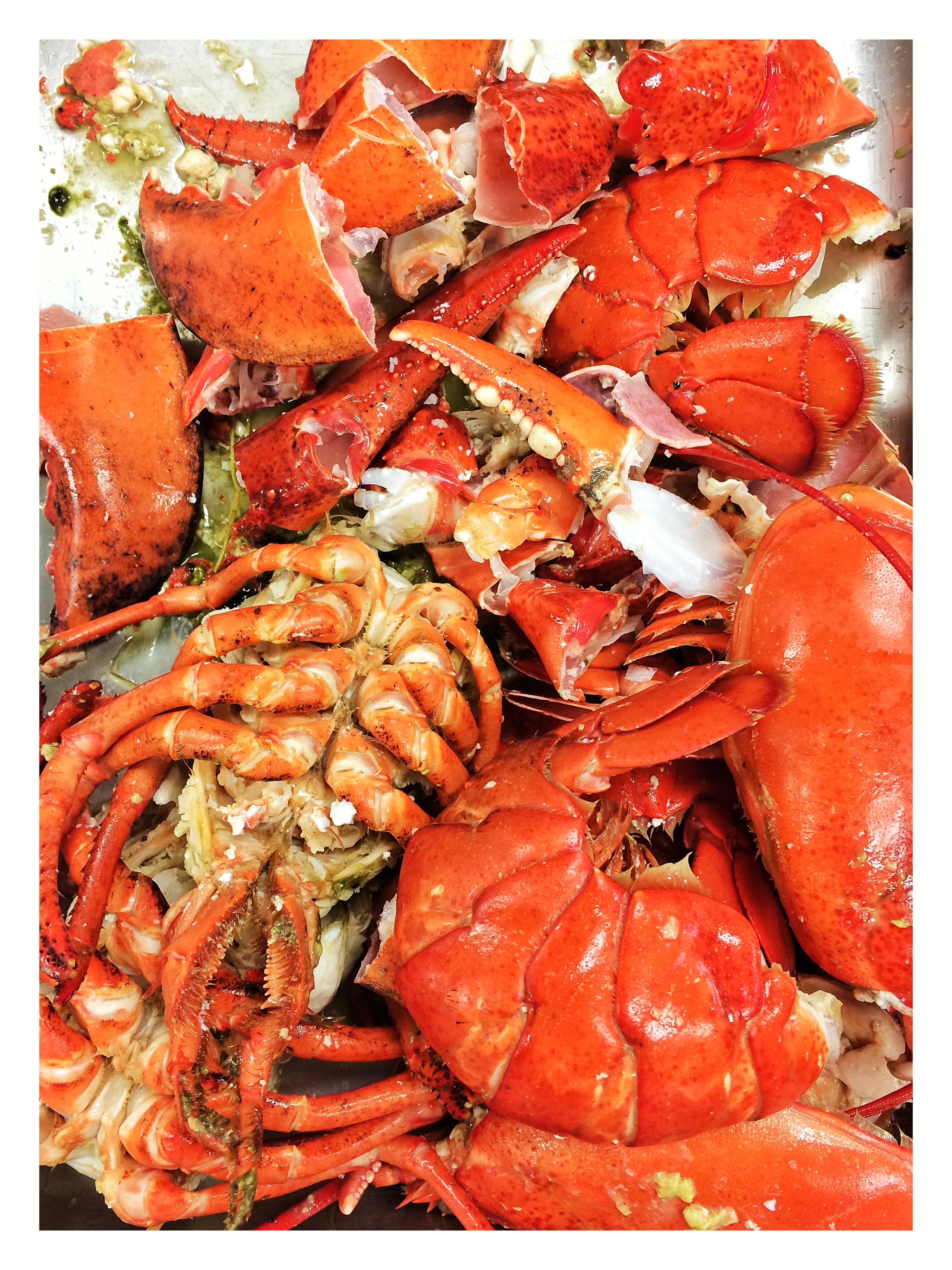 The empty lobster shells are picked clean of their meat and then used for stock