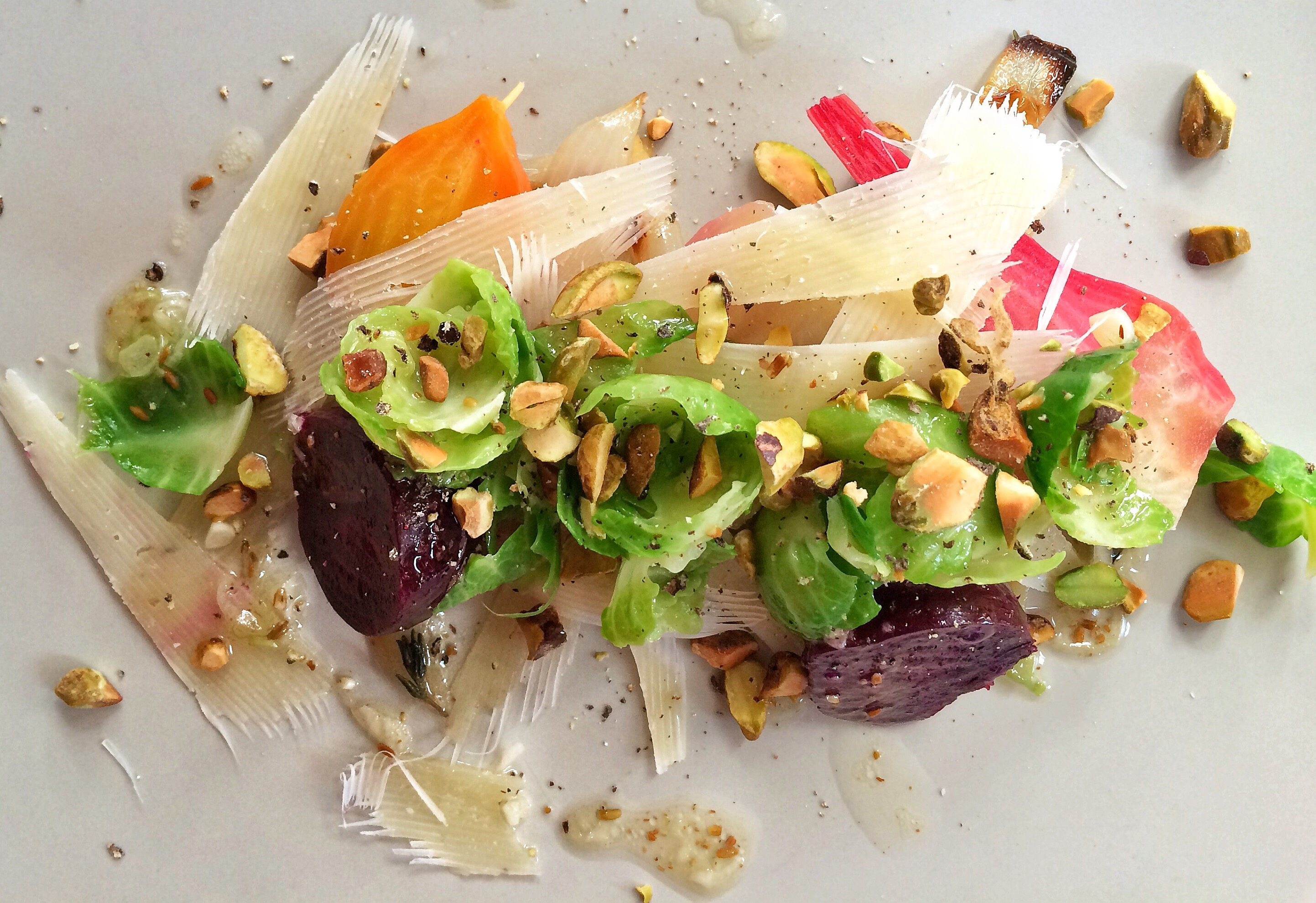 Winter Salad of Roasted Beets and Onions, Brussel Sprouts and Dry Jack, Toasted Pistachio Vinaigrette