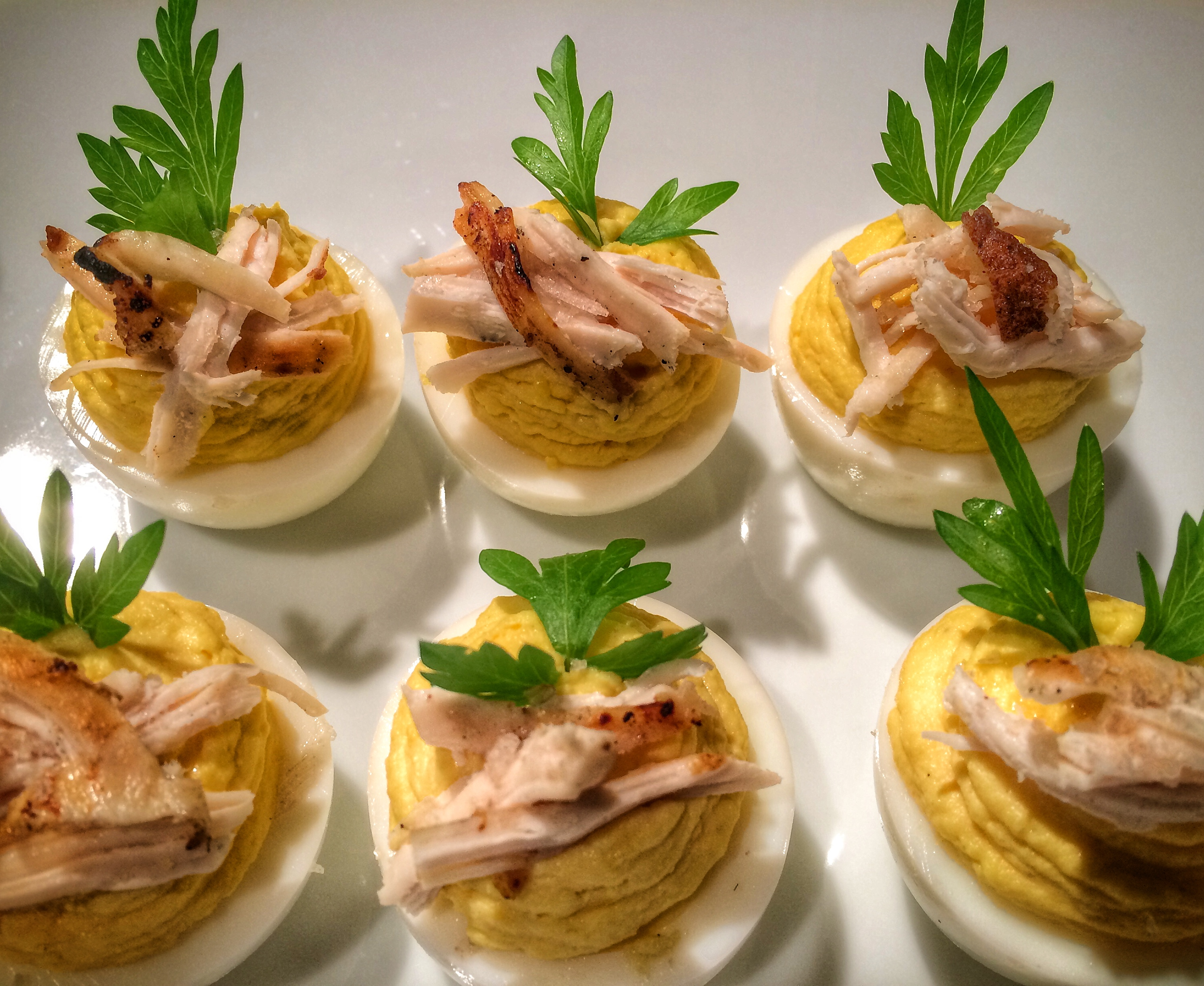 BLC Deviled Eggs with Smoked Chicken Breast & Parsley