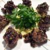 Grilled Sonoma Lamb Meatballs with Green Onion Tapenade & Extra Virgin Olive Oil