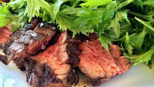 Grilled Akaushi Hanger Steak with Lightly Dressed Mizuna