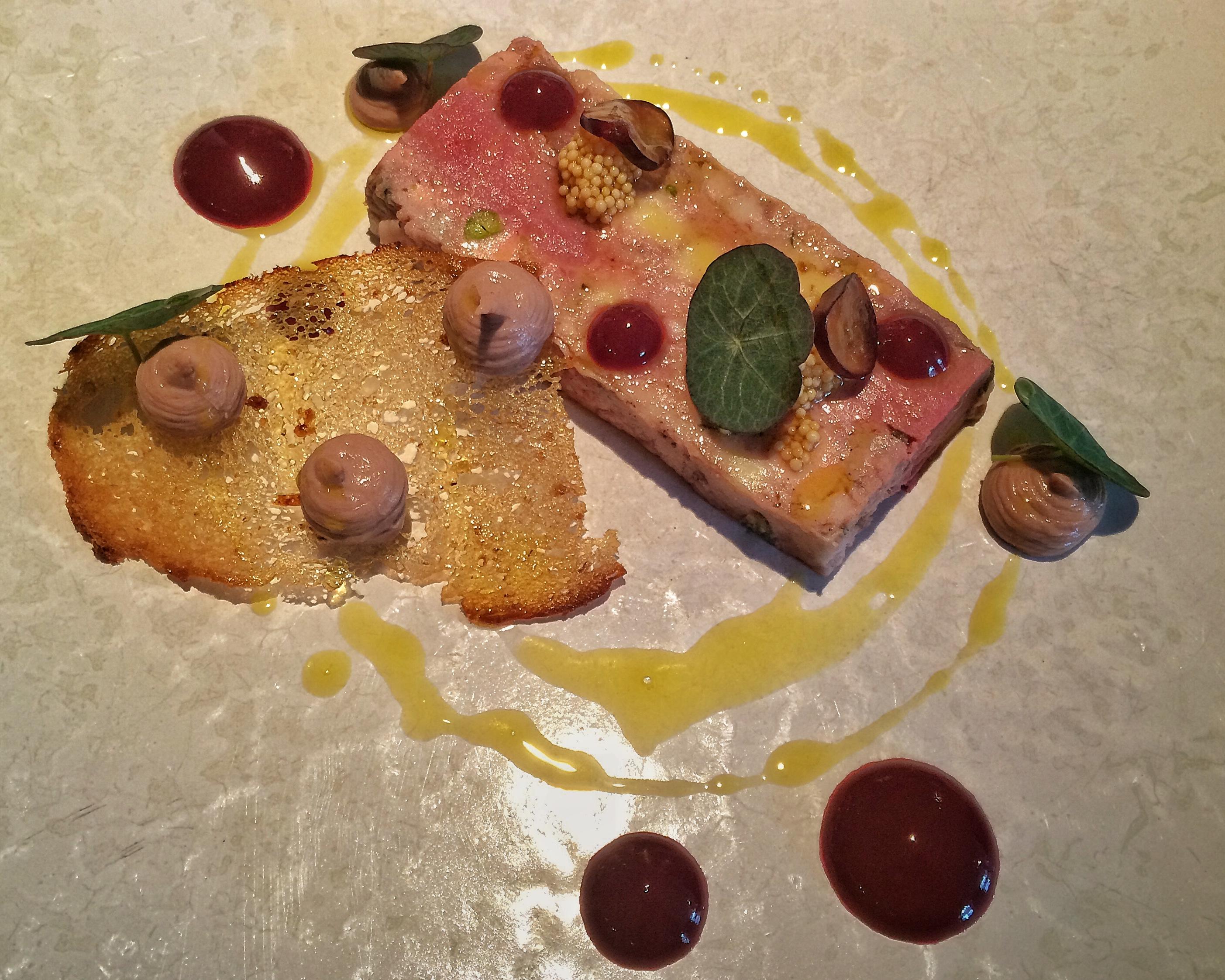 Game Terrine with Muscat Grapes & Foie Gras Parfait, Rye Bread Crouton
