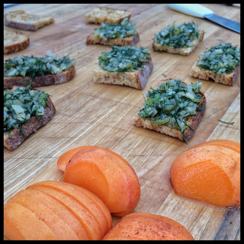 Sliced Apache Apricots ready to top Fennel Jam Crostini
