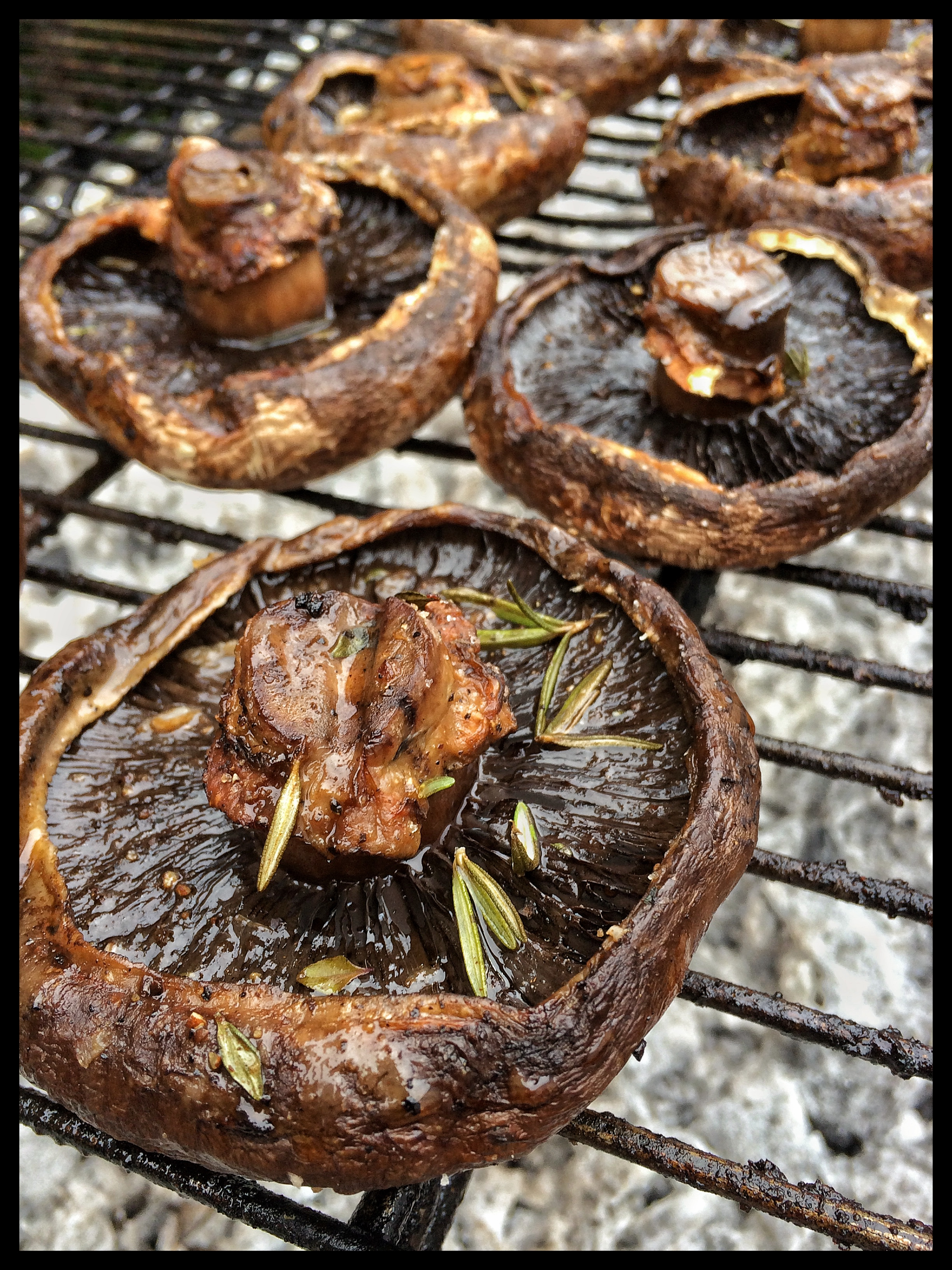 Marinated Mushrooms Grilled over Mesquite