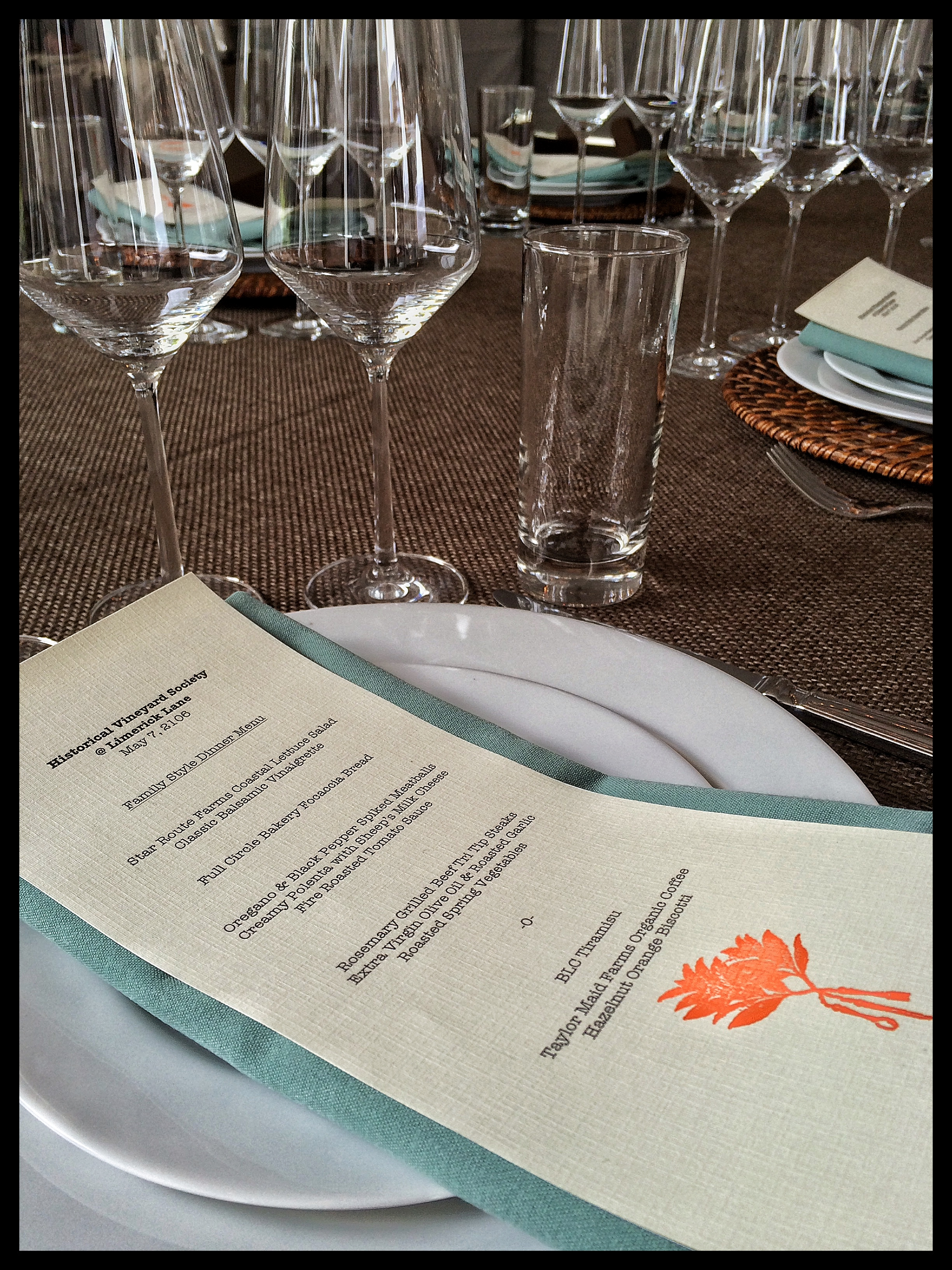 Menus, Plates and Glasses await Guests