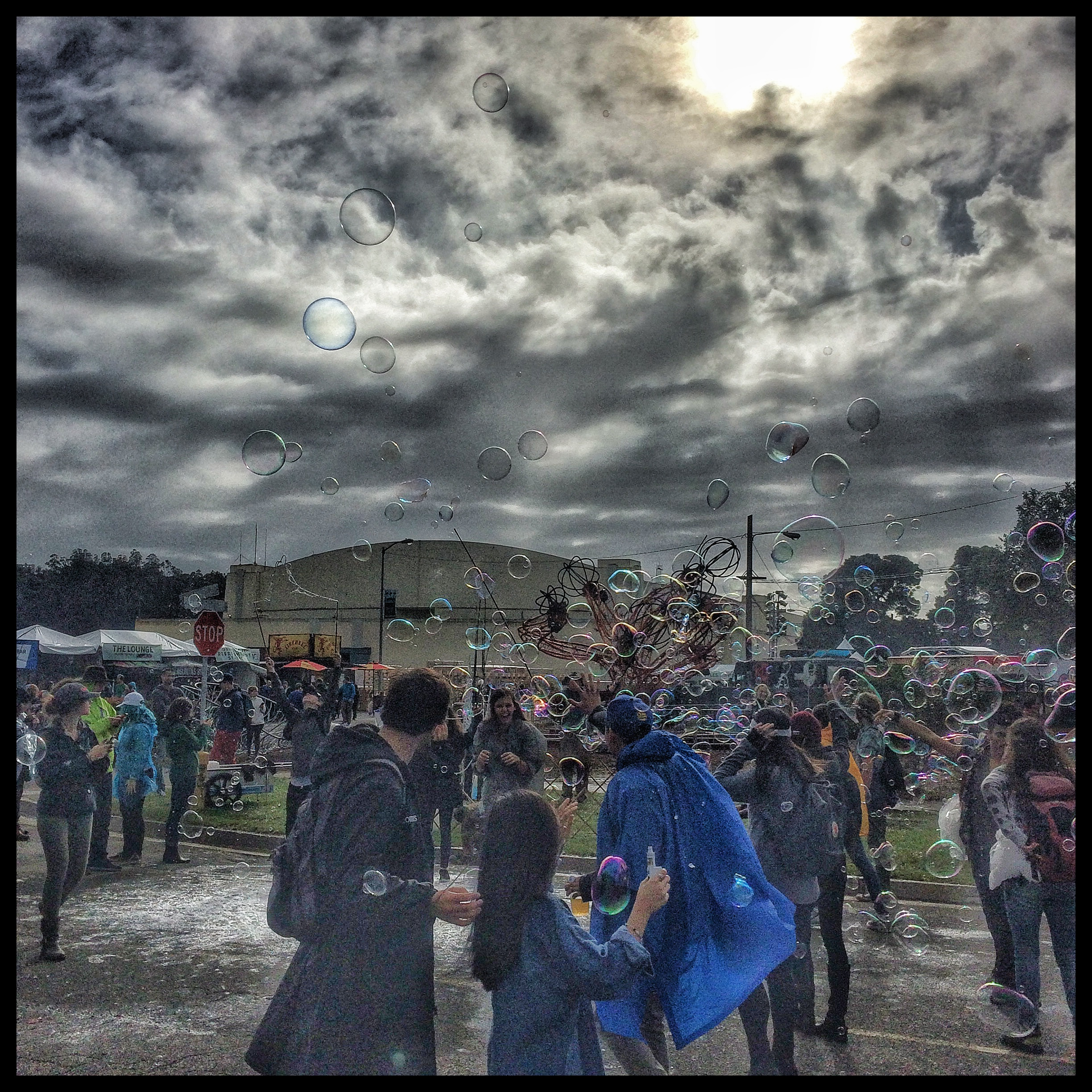 The Rain Clouds Make a Dramatic BackDrop for Bubbles