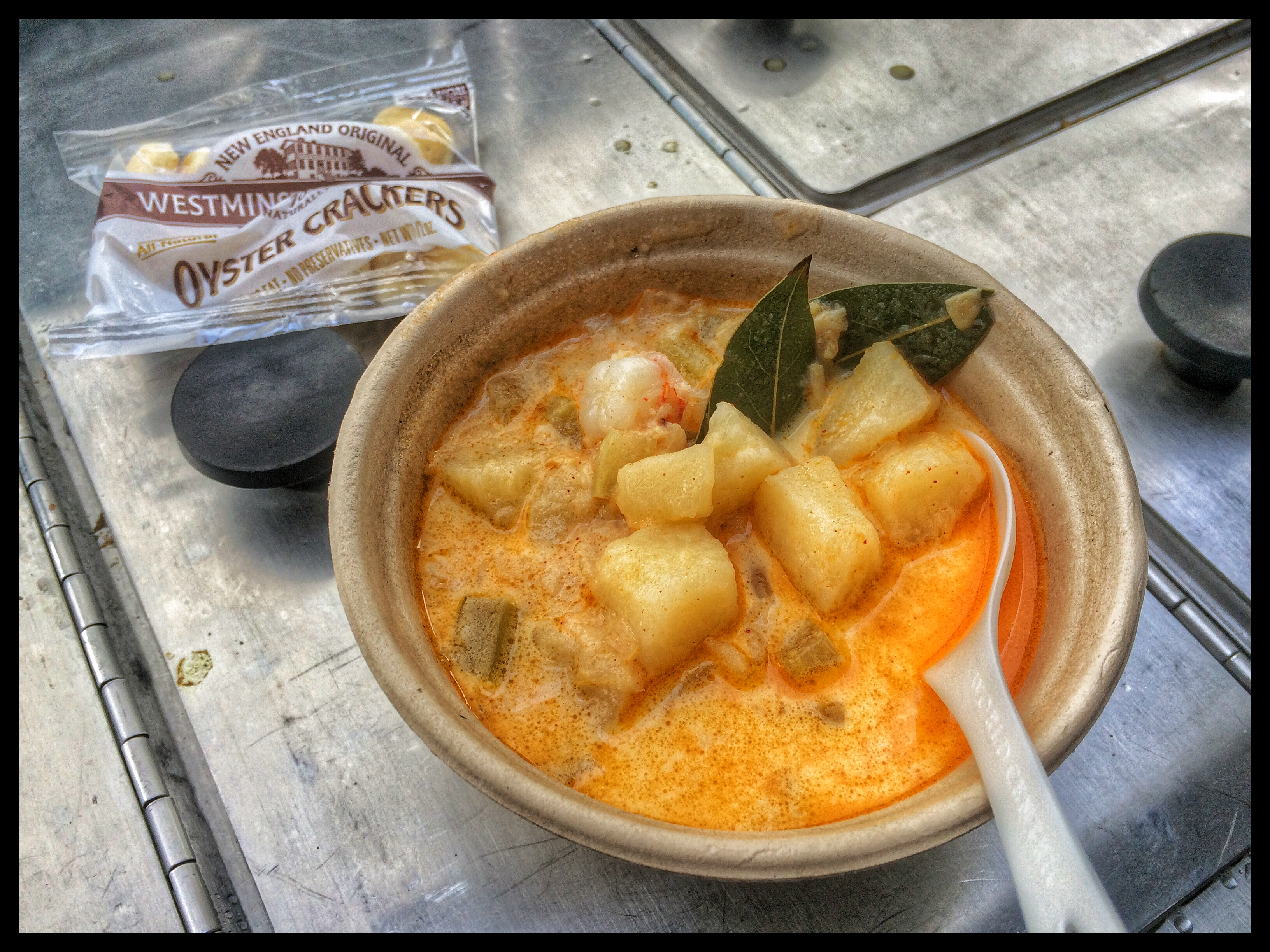 SF Bay Clam & Shrimp Chowder Served From Our Vintage Food Cart