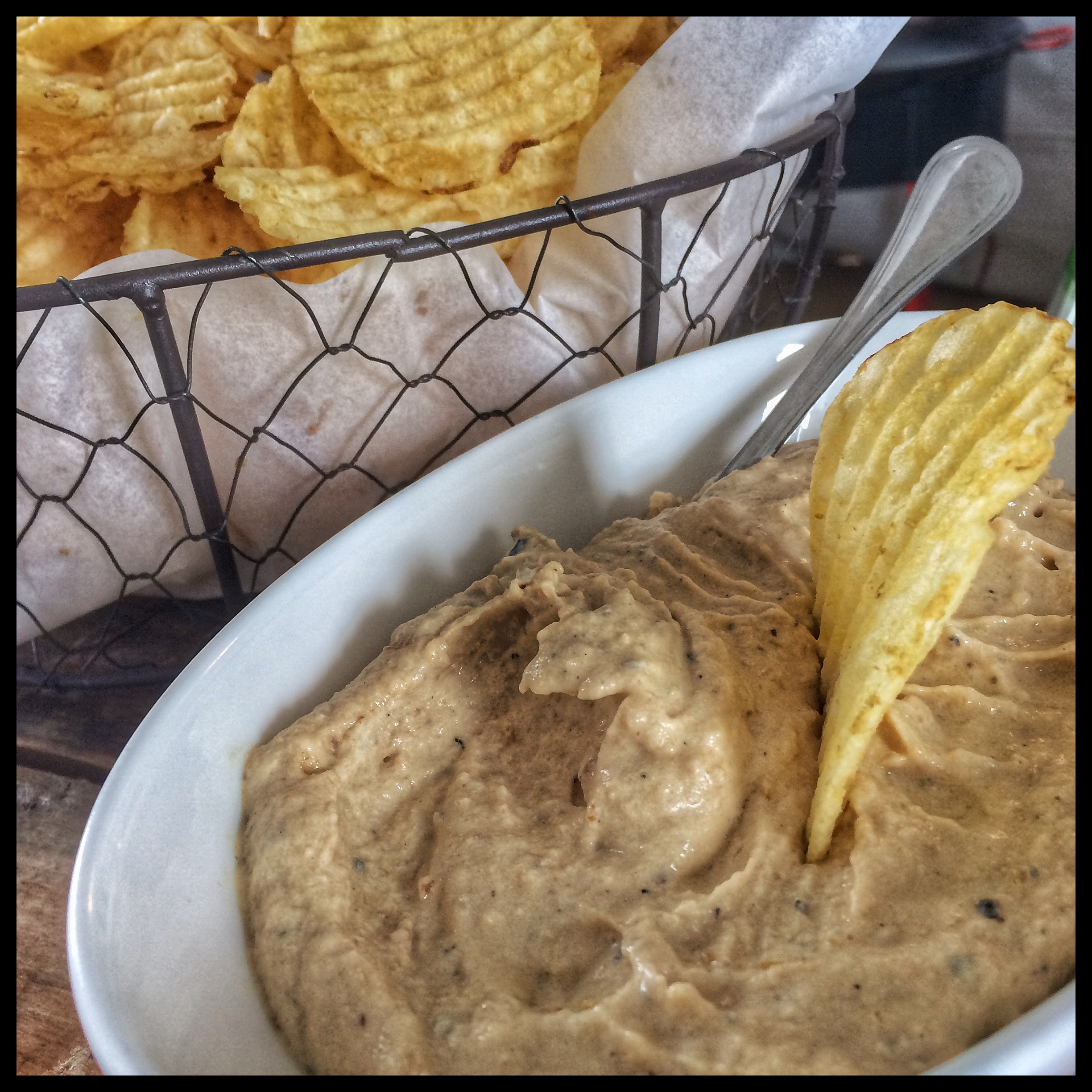Caramelized Sunchoke Dip with Sea Salt Kettle Chips