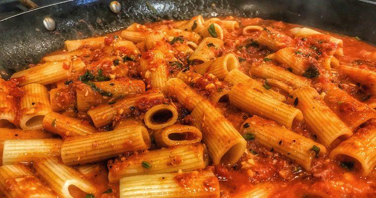 Rigatoni with Salame Nostrano, Garlic Confit & Tomatoes